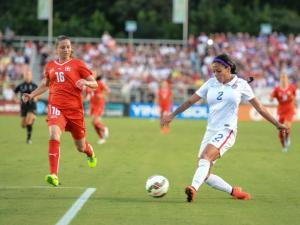 USA Women's national team vs Switzerland in a friendly August 20, 2014 at Wake Med Soccer Park - Cary NC.  The US wins with a score of 4 to 1. Photo cred: Suzie Wolf