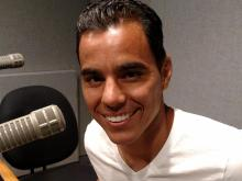Inverted Triangle: Omar Bravo grabs a mic