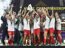 Portland Thorns FC celebrate their National Women's Soccer League (NWSL) Championship win by defeating North Caroline Courage 1-0