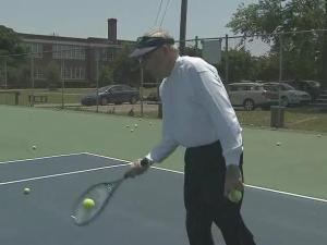 Allen Hornthall, the long-time tennis coach at Holmes High School, is happy to be back in the routine of practice after a lung transplant.
