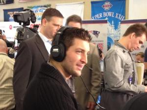 Tim Tebow at Super Bowl Radio Row