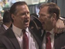 Mark Gottfried leaving the court after win over Georgetown