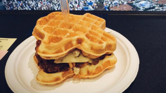 "AT&T Stadium offered up a chicken and waffles sandwich dubbed ""The Champion."""