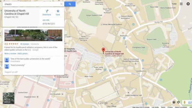 Cheats In Chapel Hill A Google Maps Investigation