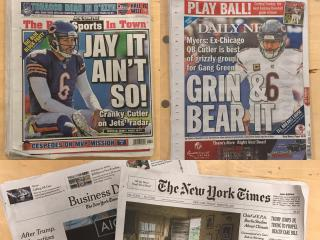 Front pages of the New York sports pages.