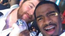 Jacoby Brissett and Joe Thuney with Super Bowl Rings